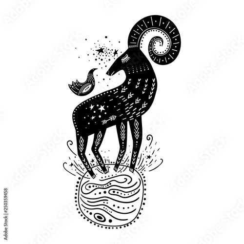 Vector childish hand-drawn illustration. Mountain sheep standing on the planet in space and a bird sitting on it. Black and white - 250359458