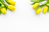 Spring composition. Delicate yellow tulips on white background top view copy space border