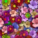 Colorful background with different flowers. Seamless.