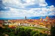 Leinwandbild Motiv Modern colorful aerial view Florence Firenze on blue backdrop. Famous european travel destination. Beautiful architecture. Italian renaissance church. Summer landscape. Florence, Tuscany, Italy