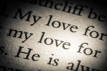The word love on old page in a open book close-up macro. Vintage, grunge, old, retro style photo.