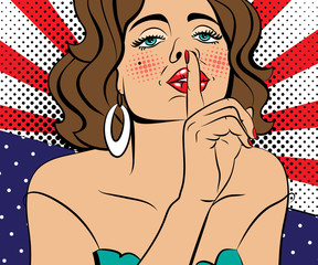 Sexy brown-haired pop art woman with beautiful eyes and mouth. Vector background in comic style retro pop art.  Face close-up.