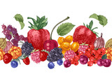 Seamless border with hand drawn berries - 250406650
