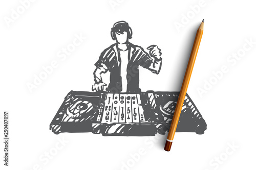 DJ, music, club, disco, party concept. Hand drawn isolated vector.
