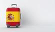 Leinwandbild Motiv Travel suitcase with the flag of Spain. Holiday destination. 3D Render