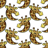 Seamless pattern with giraffes on a white background.