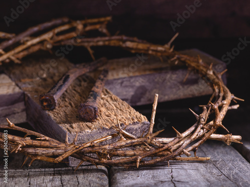 Crown of Thorns and Nails on a Wooden Cross © chas53