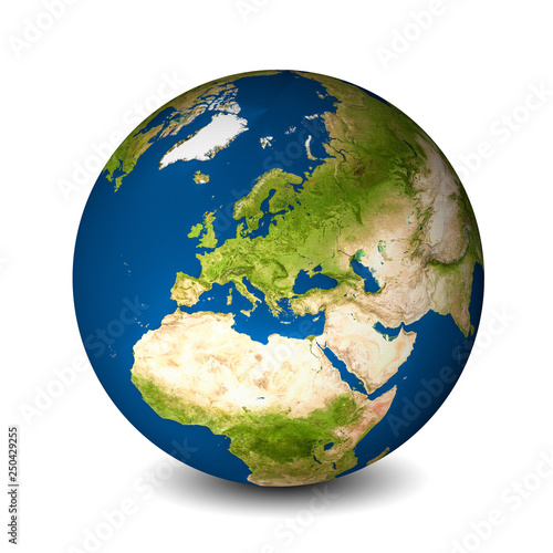 Leinwandbild Motiv Earth globe isolated on whitebackground. Satellite view focused