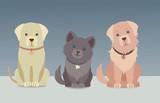 Cute vector dogs set