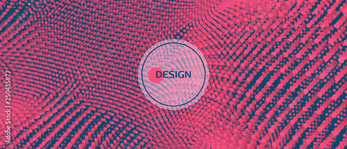 Abstract background. Technology style. 3d network design with particles. Vector illustration. Cover design template. Can be used for advertising, marketing, presentation. - 250435877