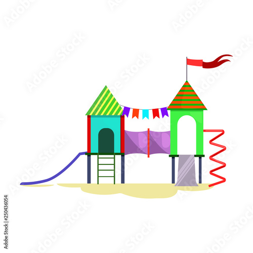 Kids playground with ladder, chutes and spiral vector. Kindergarten, fair, children activity. Childhood concept. Vector illustration can be used for topics like entertainment, leisure, party