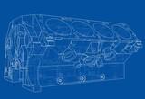 Engine block sketch. Vector rendering of 3d