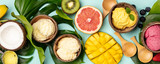 Tropical fruits and plants with variety of ice cream in coconut shells - 250439067