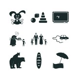 children icon set. grandchild grandmother family silhouette and toy car icon children vector icons.