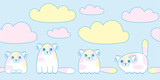 Cartoon cute colorful cats with clouds seamless pattern