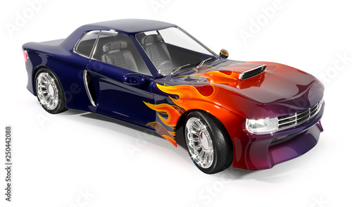 Muscle car. 3d illustration isolated on white. - 250442088