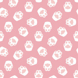 Cute, kawaii pink seamless pattern background with kitty, cats paws. - 250442685