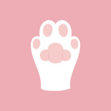 Cat, kitty paw, cute vector illustration, icon or sticker on pink background.