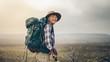 Quadro Portrait of an excited female trekker