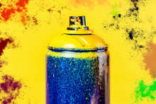 "Постер, картина, фотообои ""street art spray can and color splash on the background concept b"""