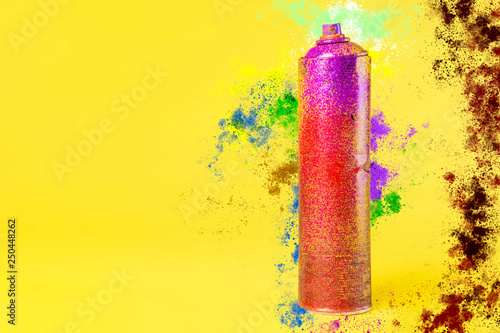 street art spray can and color splash on the background concept b - 250448262
