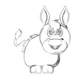 Sketch of a cute donkey. Vector illustration design