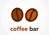 Coffee beans bar logo or icon