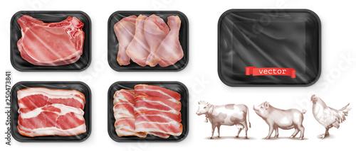 Meat food. Beef, pork, chicken legs. Black polystyrene packaging. 3d vector realistic set. High quality 50Mb eps