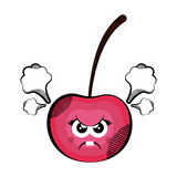 Angry cherry cartoon. Colored sketch. Vector illustration design