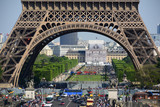 PARIS, FRANCE - MAY 5, 2018: View from Trocadero of Jena Bridge (Pont d'Iena, 1814) and Eiffel Tower on the Left Bank of River Seine.