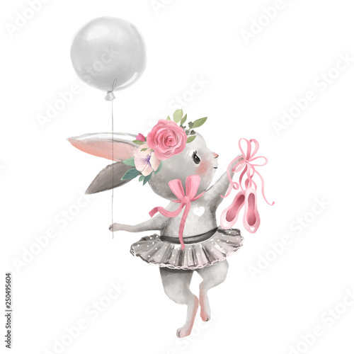 Cute ballerina, ballet girl baby bunny with flowers, floral wreath in a ballet dress with balloon and shoes © princhipessa