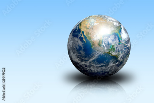 Earth planet on blue isolated plane. Elements of this image furnished by NASA. The Blue Marble - 250499022