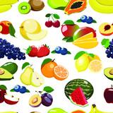 Fresh fruits seamless pattern isolated on white background.