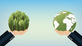 World Environment Day concept with Save the world. Nature or Healthy. Eco friendly design. Vector illustration