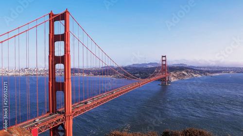 obraz lub plakat afternoon view of golden gate bridge in san francisco from battery spencer