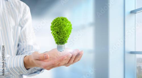 Green energy concept. Mixed media
