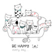 Cute baby cat with sofa cartoon hand drawn style,for printing, t shirt, banner