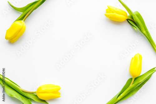 Spring composition. Bouquet yellow tulips on white background top view copy space frame - 250559246