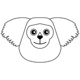 Monkey head cartoon isolated black and white