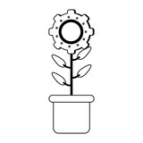 Flower with gear in pot black and white