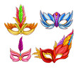 Vector bright Venetian face masks with feathers. Decorative element for traditional Mardi Gras carnivals, holiday masquerade, costumed party. Dressing part illustration. Mystery, secret concept.