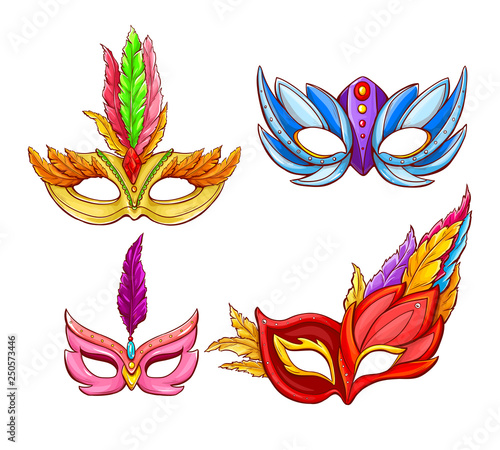 Vector bright Venetian face masks with feathers. Decorative element for traditional Mardi Gras carnivals, holiday masquerade, costumed party. Dressing part illustration. Mystery, secret concept. - 250573446