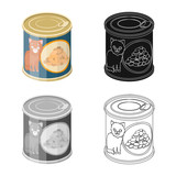 Isolated object of can and food sign. Collection of can and package vector icon for stock.