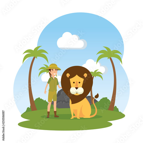 man worker of zoo with lion in the landscape - 250586087