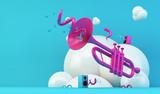 pink trumpet illustration on blue background