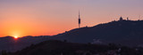 Tibidabo mountain silhoutte landmark Sunset view Barcelona Spain