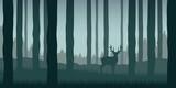 lonely elk in green forest wildlife nature landscape vector illustration EPS10
