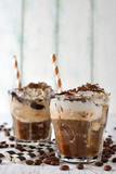 Iced coffee with whipped cream and ice cream