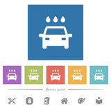 Car wash flat white icons in square backgrounds