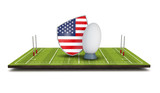 USA rugby shield flag icon with rugby ball. 3D Render